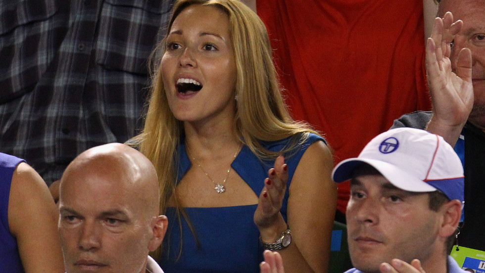 Novak Djokovic's girlfriend Jelena Rustic urges him on during his final against Rafael Nadal.