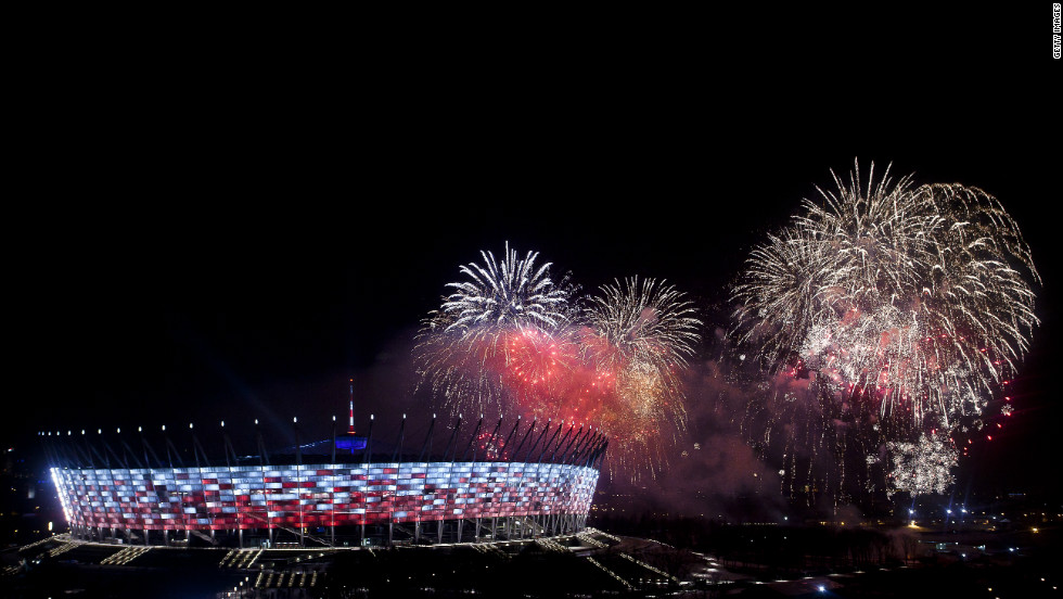 Poland continued the countdown to the Euro 2012 football finals, which it will co-host with Ukraine, with the opening of the purpose-built National Stadium in Warsaw on Sunday.