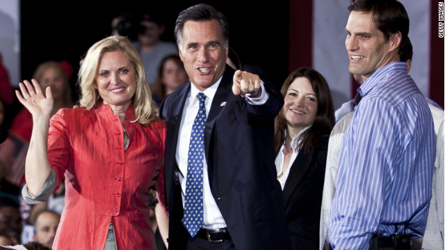 TAMPA, FL - JANUARY 31: Republican presidential candidate, former Massachusetts Gov. Mitt Romney (C) celebrates with his wife Ann Romney (L) and family at his Florida primary night party January 31, 2012 in Tampa, Florida. According to early results Romney defeated former Speaker of the House Newt Gingrich, former U.S. Sen. Rick Santorum and U.S. Rep. Ron Paul (R-TX) to win Florida's primary. (Photo by T.J. Kirkpatrick/Getty Images)