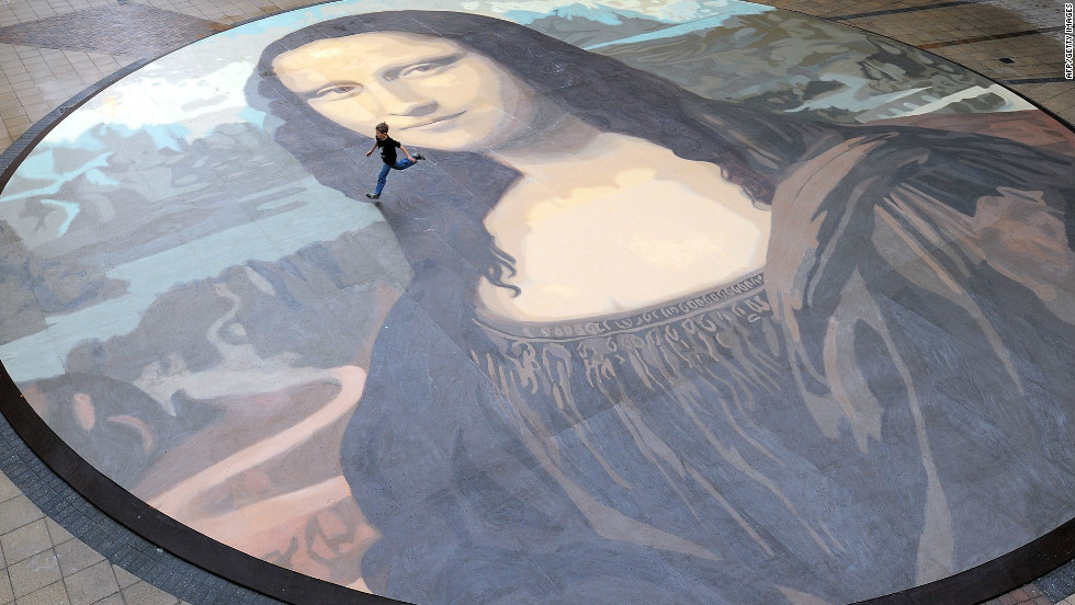"The ""Mona Lisa,"" one of the world's most famous paintings, has inspired thousands of imitations, including this, the largest ever copy, painted in North Wales in 2009."