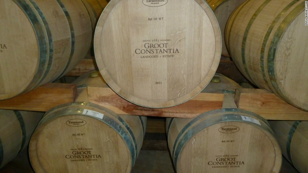 French imported wine barrels at Groot Constantia, the region's oldest vineyard.