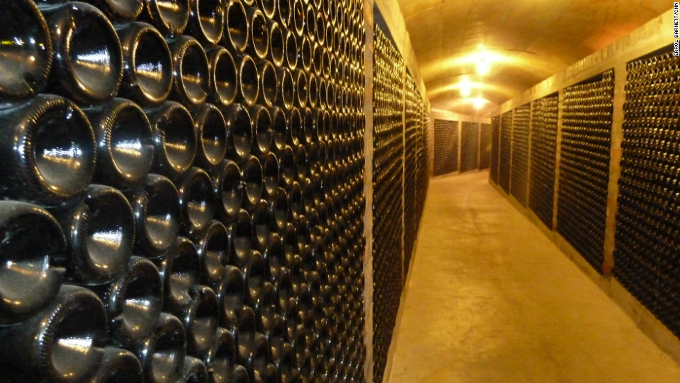 Tens of thousands of wine bottles line the tunnel between the farmhouse and the factory at Rustenburg Estate.