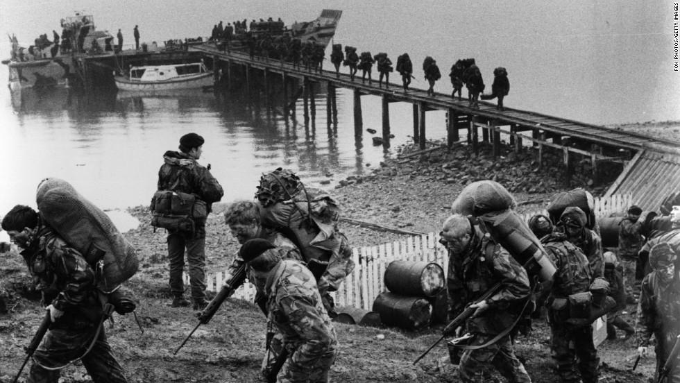 British troops arriving in the Falklands Islands during the 1982 Falklands conflict.