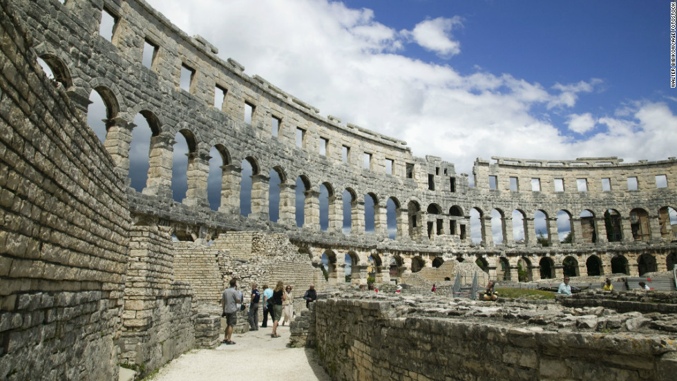 After colonizing Istria in the second century, B.C., the Romans built an arena designed for an audience of 22,000 to watch gladiator fights.