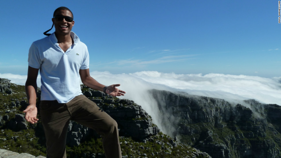 CNN's Errol Barnett above the clouds at more than 1,000 meters atop Table Mountain, South Africa
