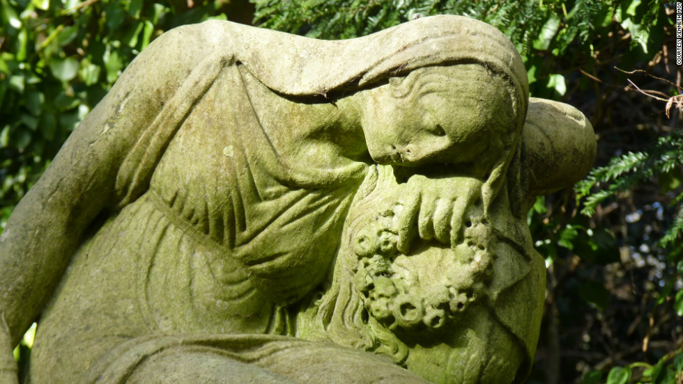 """""""I believe [this statue] captures the serenity, solemnness and stateliness of Highgate Cemetery,"""" Kenneth Moy said of his photo. """"On one hand it appeared that she had made peace with her loss, while on the other hand her sadness is more than evident."""""""