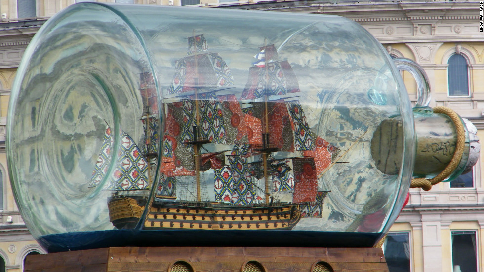 "Linda Wampach took this photo of a ship in a bottle on the empty plinth in Trafalgar Square. ""We had never been out of the country before so it was all very different and exciting,"" she said."