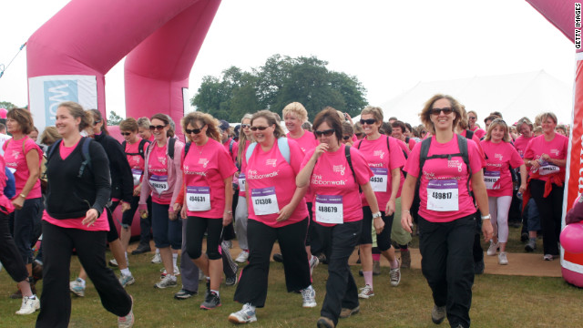 MIDHURST, UNITED KINGDOM - JUNE 11: Women walk in The Pink Ribbon Walk in aid of breat cancer care at petworth house, west sussex on June 11, 2011 in Midhurst, England. (Photo by Roberta Parkin/Getty Images)