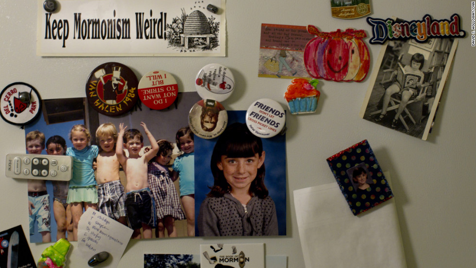 "Scattered on the family refrigerator are signs of this household's spirit. Among the magnets are some from the Feminist Mormon Housewives blog, including one that says, ""Jesus loves us. Who cares what you think?"""
