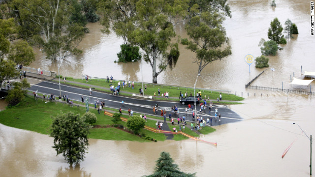 An aerial view of flood affected streets on Friday in Moree, Australia.