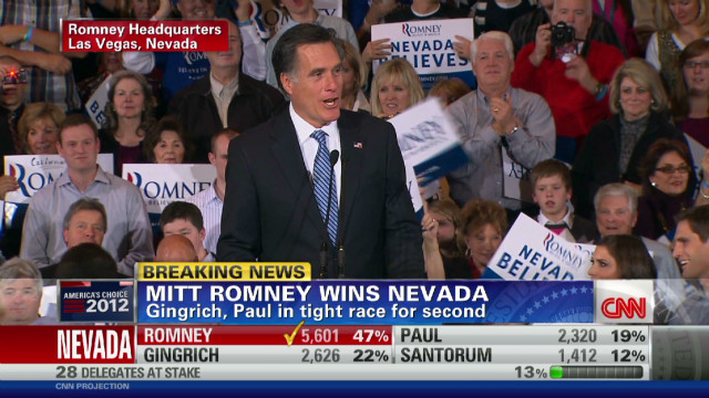 Romney gives victory speech in  Nevada