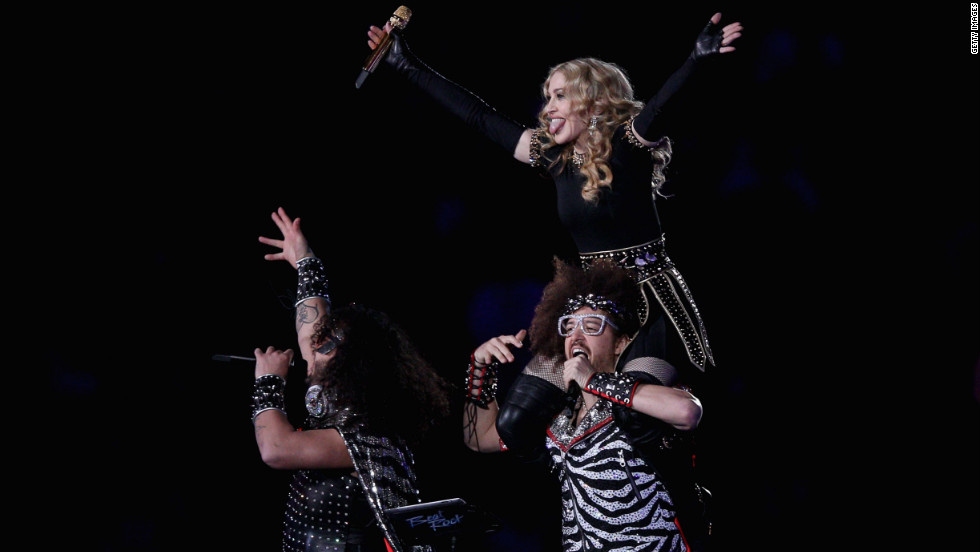 "Madonna performs with Redfoo and Sky Blu of LMFAO, the twosome behind the chart-topping single ""Sexy and I Know It."""