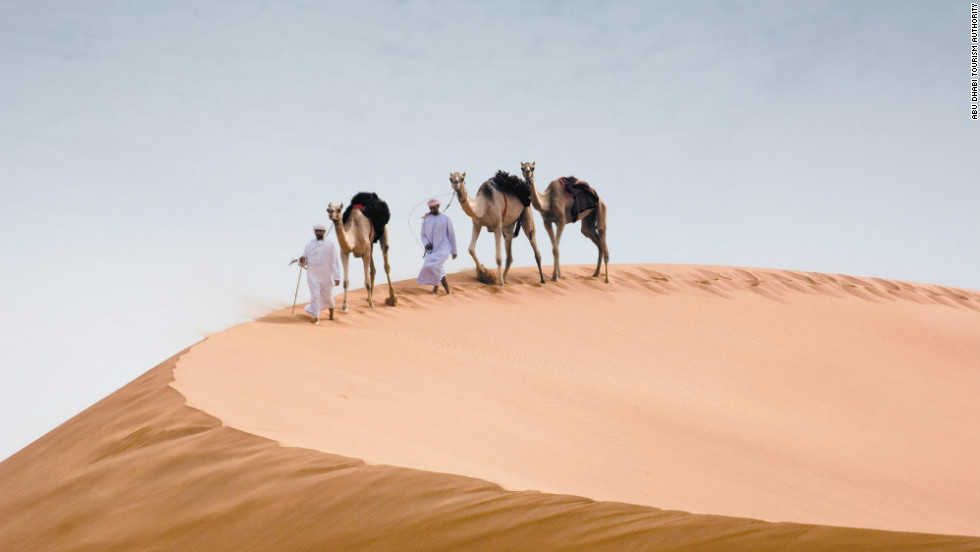 Those with more than a few hours to spare can see another side of the U.A.E. by taking a short trip out of Abu Dhabi to explore the surrounding desert on camel back.