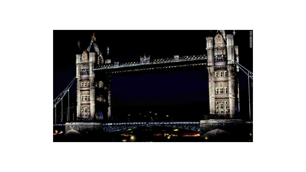 An artists impression of how Tower Bridge in London will look once it has been retrofitted with a new low-energy LED lighting system.
