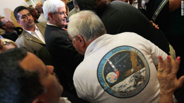 GOP presidential hopeful Newt Gingrich stumps along Florida's Space Coast last month.