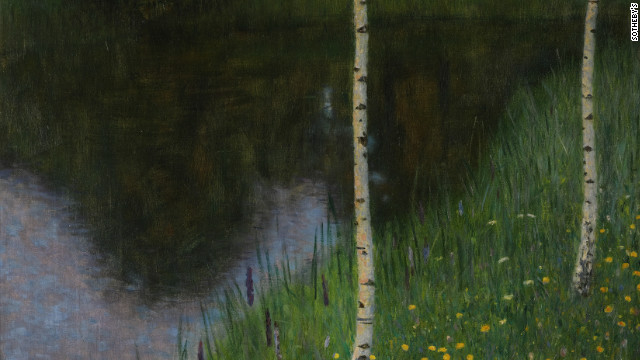 """Lakeshore with birches,"" Gustav Klimt, 1901."