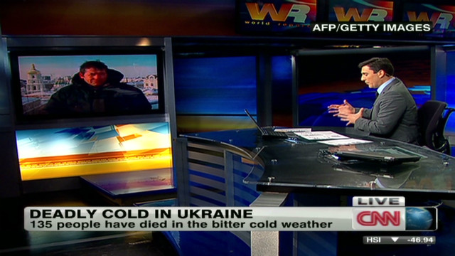 Bitter cold temperatures grip Ukraine