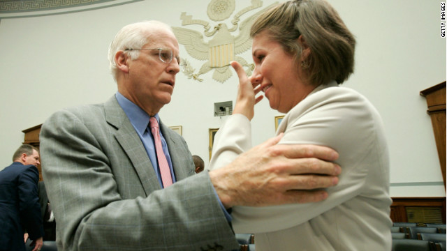 Then-Rep. Christopher Shays comforts former U.S. Air Force Academy cadet Beth Davis after her 2006 testimony on sexual assault in the military.