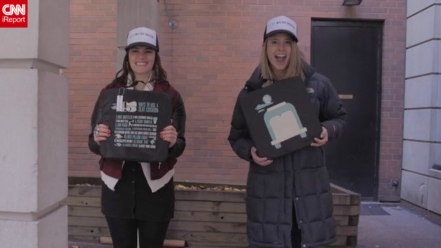 "iReporters Kathleen Fitzgerald and Lizzy Showman designed seat cushions for New York bus drivers to say ""thank you."""