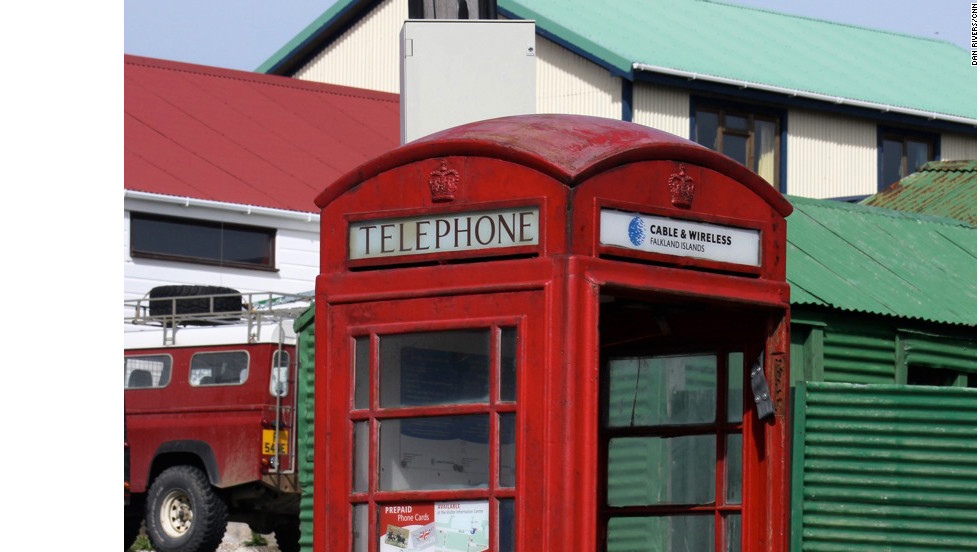 "A red telephone box in Stanley is just one of a number of quintessentially British aspects to island life - the Argentines insist the islands were ""stolen"" from them by Britain in 1833."