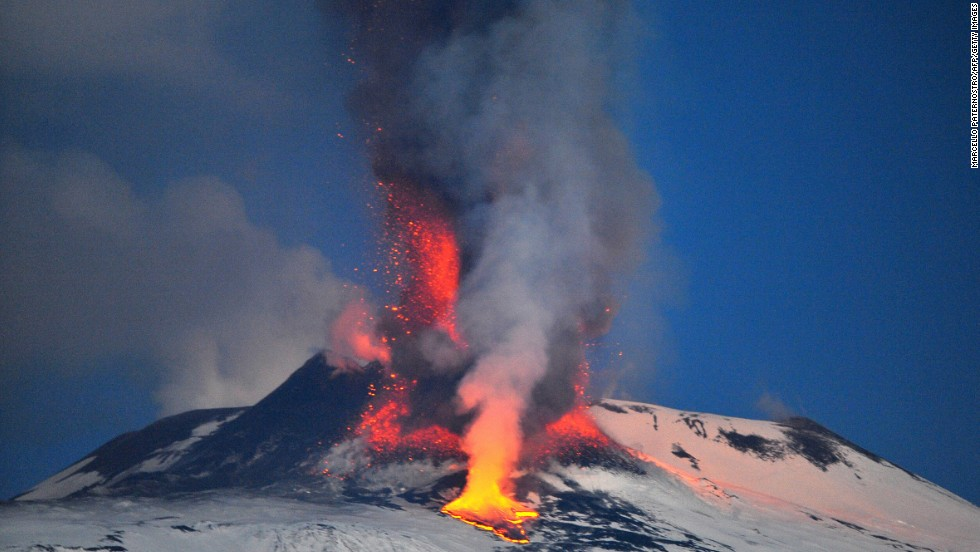 Europe's highest active volcano, Mount Etna, spews lava in January 2012. The volcano is located in Sicily.