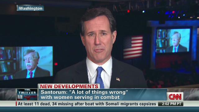 Santorum concerned about women in combat