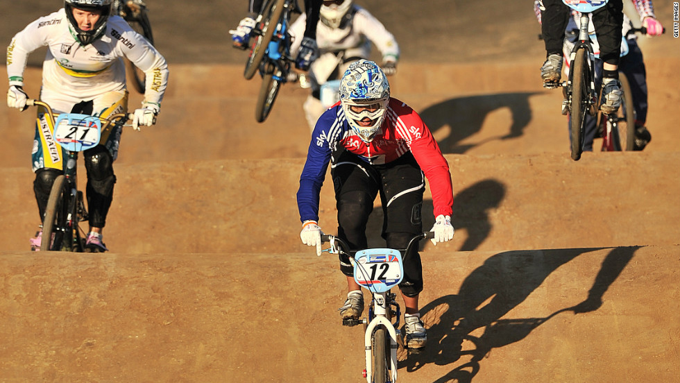 "As well as tackling huge jumps, BMX racers also have to contend with bumps in the track known as a ""whoop."""