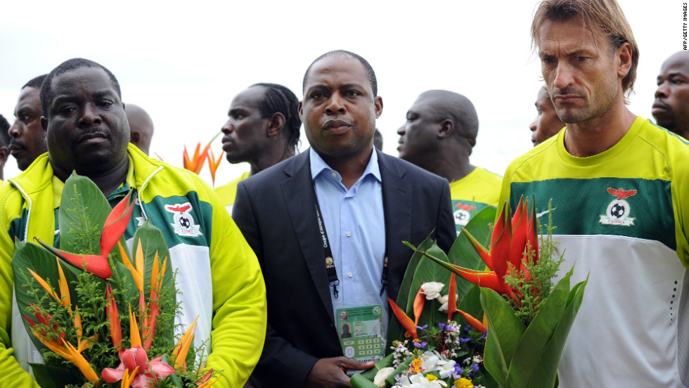 Back in 1993, 18 Zambia players and their coach were killed in a plane crash in Gabon's capital Libreville -- the setting for Sunday's final. Bwalya escaped the tragedy as he was traveling to Africa from the Netherlands. He returned to the scene of the crash with Renard (right) and the squad before the final.