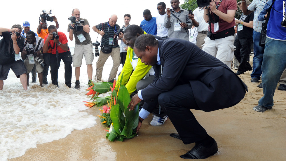Bwalya laid flowers at the scene of the crash -- a beach in Libreville -- to pay his respects to his late teammates and coach.