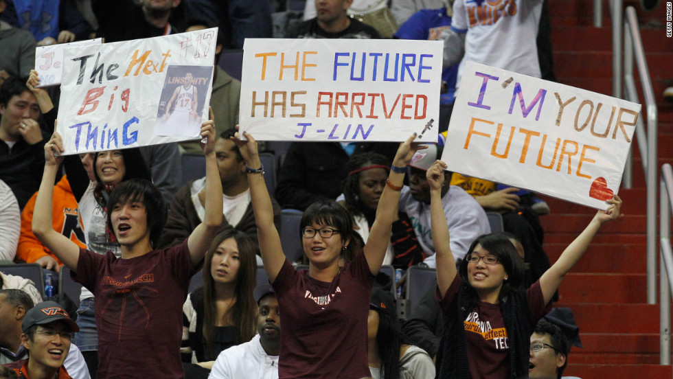 Jeremy Lin's fans held signs during the New York Knicks-Washington Wizards game at Verizon Center in Washington in February 2012.