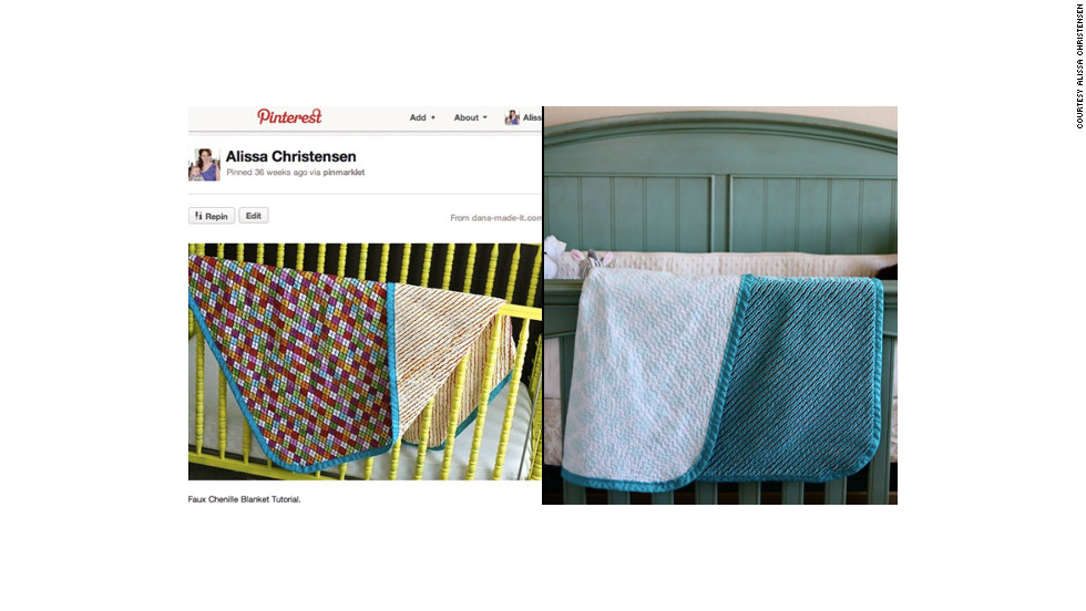 "Alissa Christensen says she's learned to sew, quilt and crochet by finding tutorials through Pinterest (left). The Las Vegas, Nevada, stay-at-home mom has used the site to find all kinds of things to create for her baby son, like <a href=""http://ireport.cnn.com/docs/DOC-743625"">this blanket</a> (right). She says it was the first thing she ever sewed."