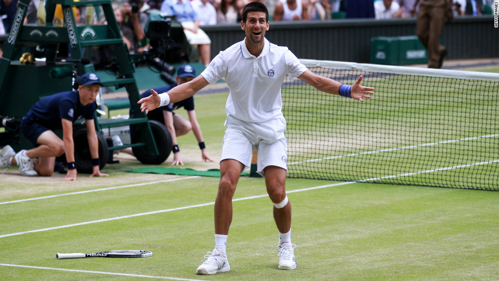 In July, Djokovic claimed his first Wimbledon title by beating Spanish two-time champion Rafael Nadal 6-4 6-1 1-6 6-3 in the final. It was the first of three consecutive grand slam finals against Nadal.