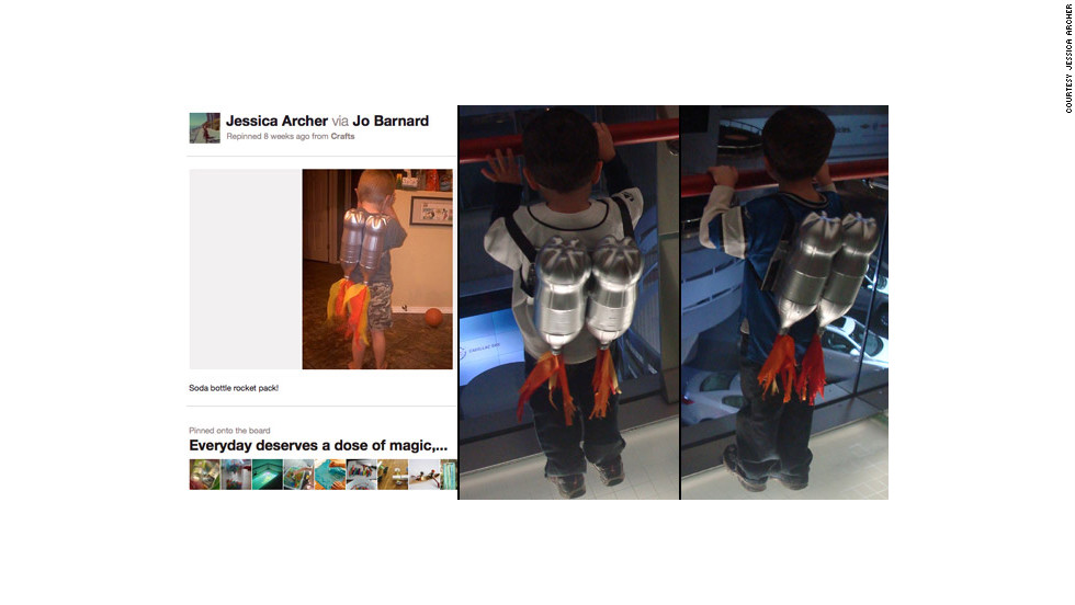 "Jessica Archer created these <a href=""http://ireport.cnn.com/docs/DOC-743275"">rocket packs</a> for her sons after finding inspiration on Pinterest. She says her boys ""both think Detroit's Renaissance Center is huge space ship, so I figured this project would be the perfect time to 'blast off' to the top of it."" The rockets are made of spray-painted soda bottles!"