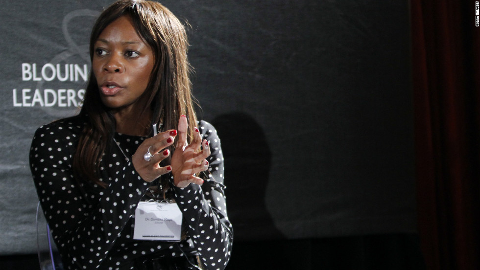 "Time Magazine has listed economist Dambisa Moyo as one of the ""100 most Influential People in the World.""  Born in Zambia, Moyo went to university in the UK and the United States. Her books ""Dead Aid"" and ""How the West was Lost"" have been controversial and influential."