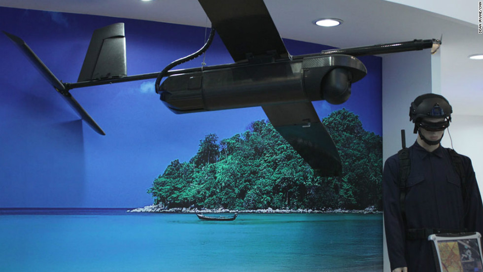 For all your tropical beach surveillance needs. Singaporean ST Aerospace display their prototype Skyblade 360 UAV.