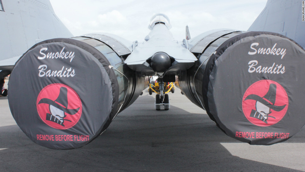 Remove before flight: The engines of the Smokey Bandits' Mig display jet.