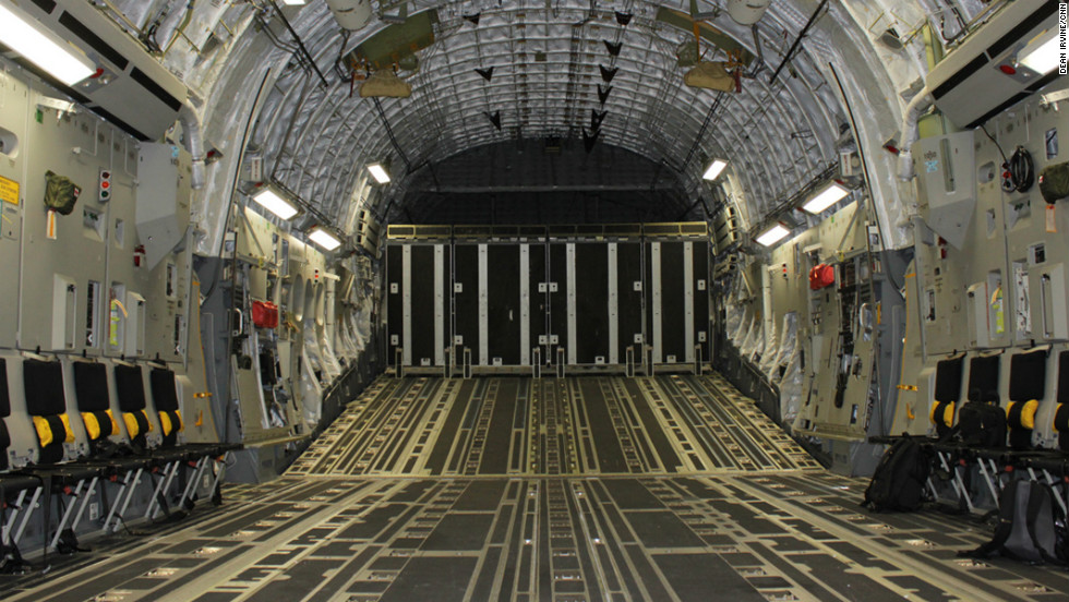 Room for a M1 tank or a killer whale -- the vast inner space of the C-17.