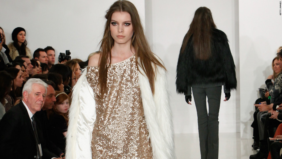 Rachel Zoe's collection showcased fur, luxurious coats and jackets, and this glittering gold accent dress.