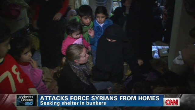 Syrians forced out of homes, into bunker