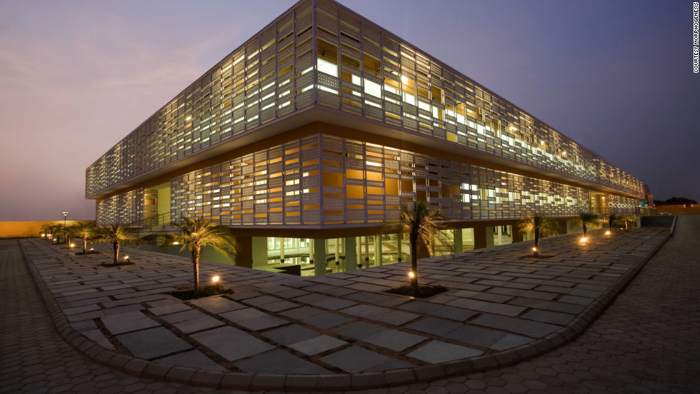 Built in the arid suburbs of Jaipur, Rajasthan, The Pearl Academy of Fashion combines modern exterior styling with ancient Rajasthani architecture -- designed to keep temperatures down without artificial cooling systems.