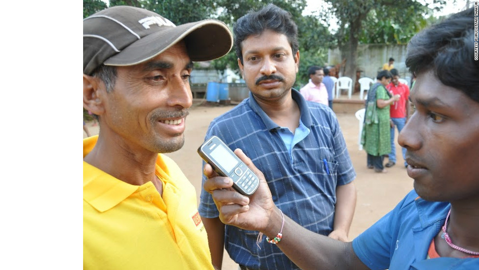 A man is interviewed via mobile phone for a report on CGNet Swara.