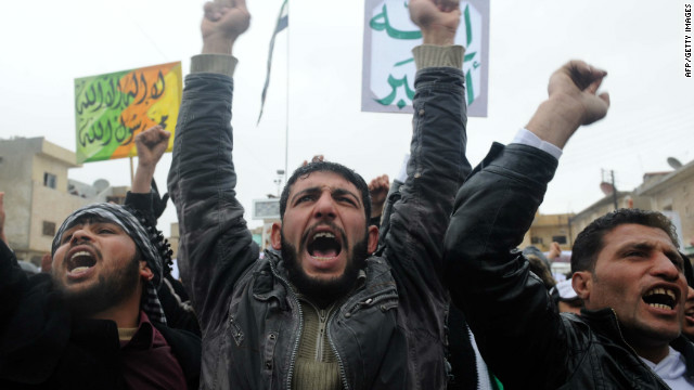 Syrians demonstrate against the regime of Bashar al-Assad in February.