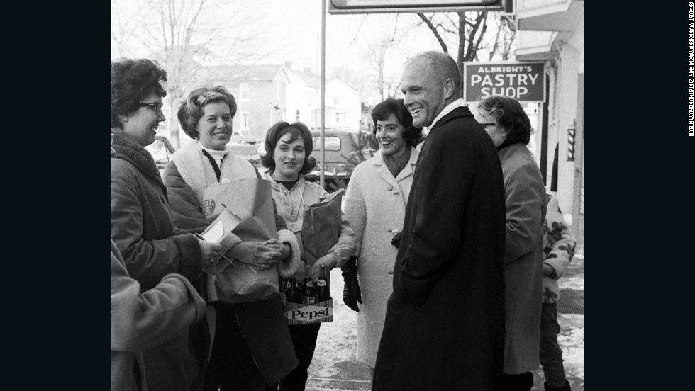 Glenn is seen here with family members during his Senate campaign in 1964. He didn't win, but he ran again and was elected in 1974. He eventually served four terms.