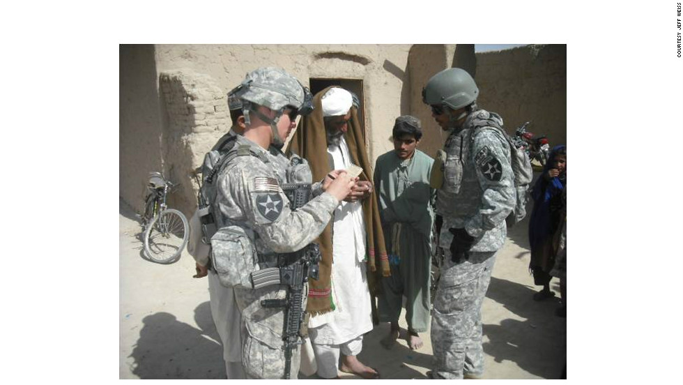 Soldiers in Afghanistan using the skills they learned at Jeff Weiss's Negotiation for Leaders course.  Here, a U.S. platoon leader discusses a medical project and enemy activity in the area with a village elder in Kandahar province.