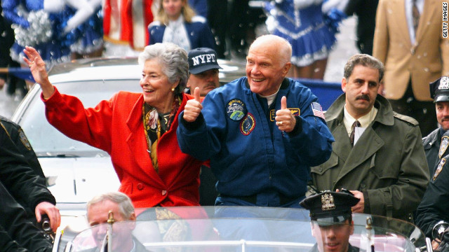 John Glenn and his wife Annie, along with the crew of the recently completed Space Shuttle Discovery mission, parade up Broadway's 'Canyon of Heroes' in November 1998 as the crew were given a ticker tape parade.