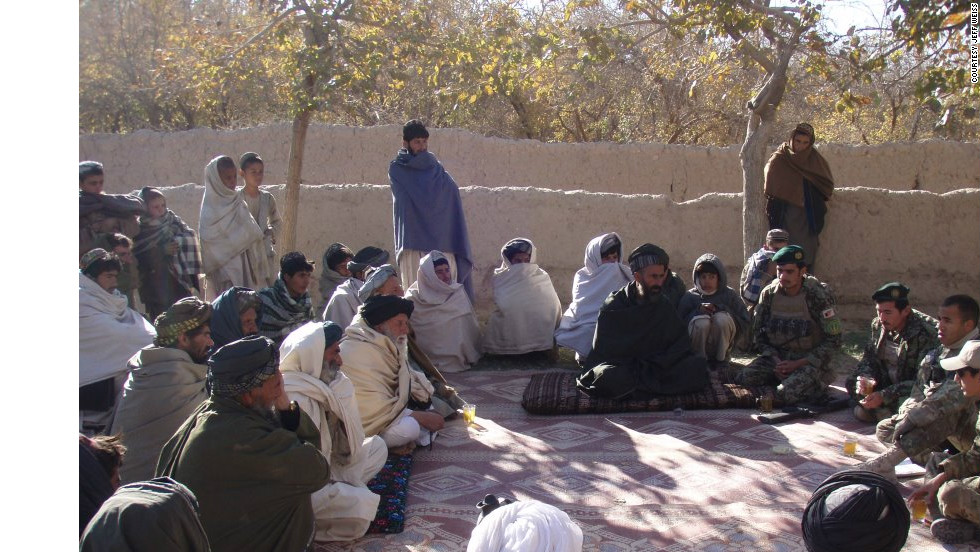 A U.S. platoon leader conducts a shura, or council meeting, with village elders in Payo Kalay, Afghanistan, following an IED strike in December. The Negotiation for Leaders course led to the development of the West Point Negotiation Project.