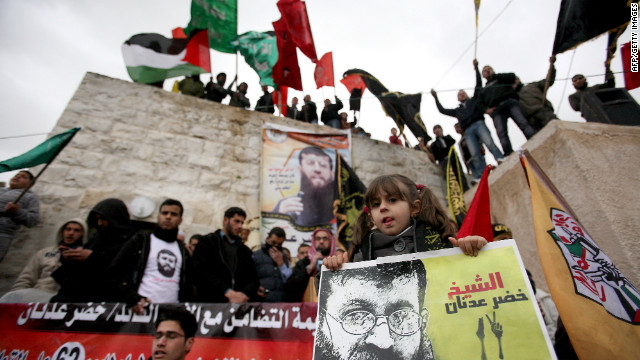 Palestinian prisoner Khader Adnan's daughter Maali takes part in a protest in support of her father, who is on hunger strike.