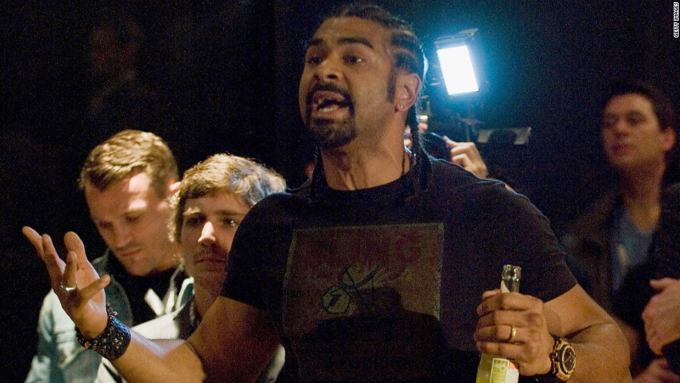 Former WBA heavyweight champion David Haye argues with Dereck Chisora moments before they brawled in Germany on Saturday.