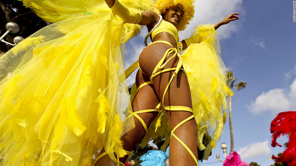A dancer takes part in a parade at the 128th Nice Carnival on Saturday.