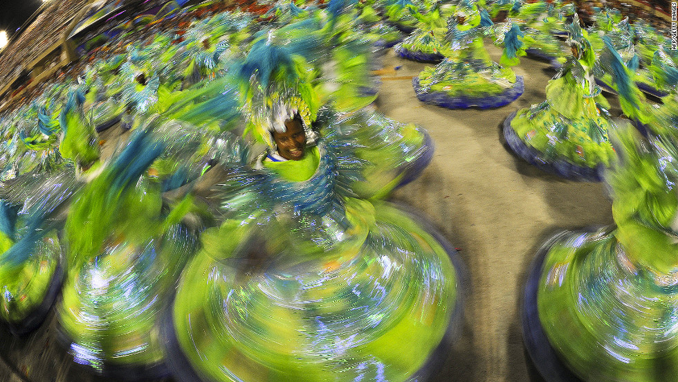 Performers from Portela samba school dance at the Sambadrome in Rio de Janeiro on Sunday, February 19.